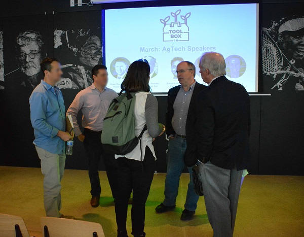 attendees talk with speakers after ToolBox LA