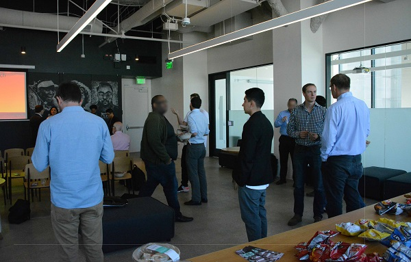 Attendees networking at Tool Box LA