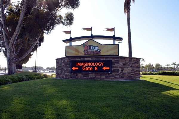 """Imaginology Gate 8 on Orange County Fair marquee"