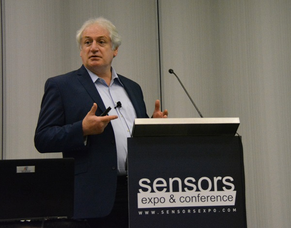 Quvium CEO Steven Schmidt at Sensors podium