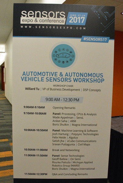 """Automotive & Autonomous Vehicles Sensors Workshop"" sign"