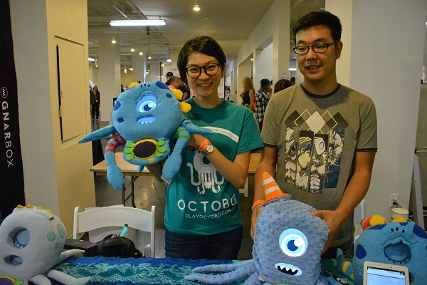 Yuting Su displays her Octobo sensor-equipped plush octopus at TechDay LA 2017.