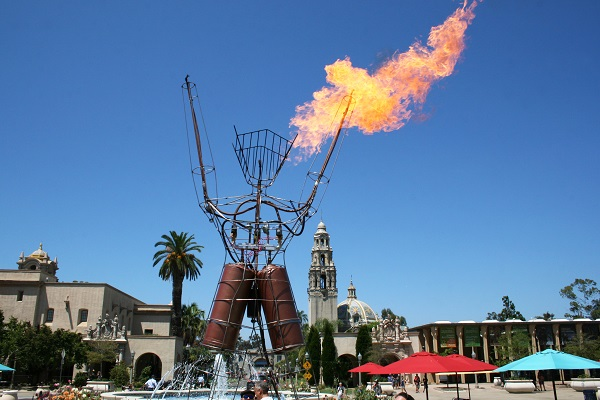 Fire-breathing 25-foot robot at Maker Faire® San Diego