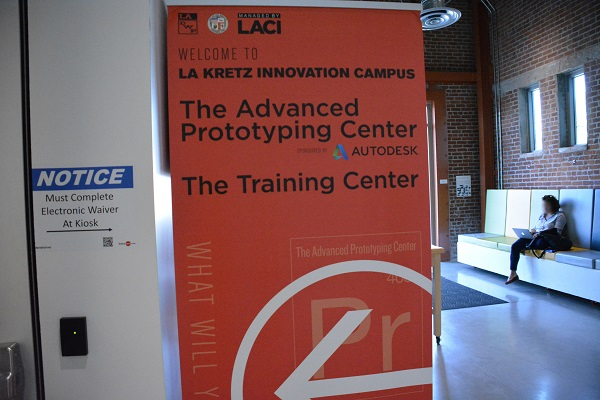 Advanced Prototyping Center lobby with sign during Maker Walk L.A.