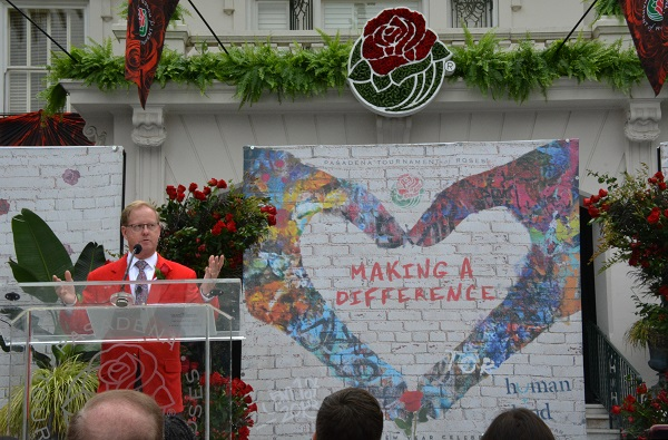 2018 Tournament of Roses President Lance TIbbet gestures from te lectern