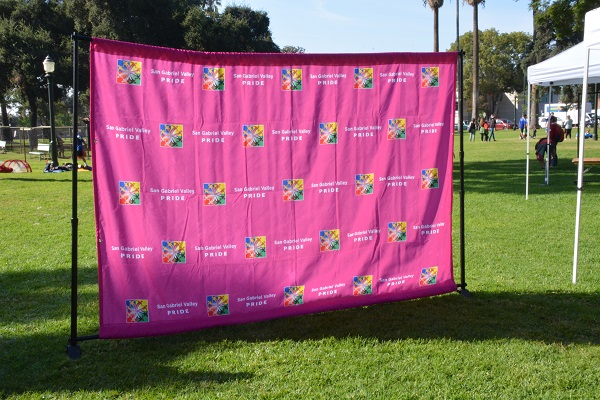 SGV Pride backdrop in Central Park
