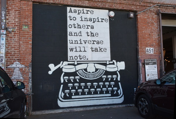 """Aspire"" mural on wall during Maker Walk L.A."