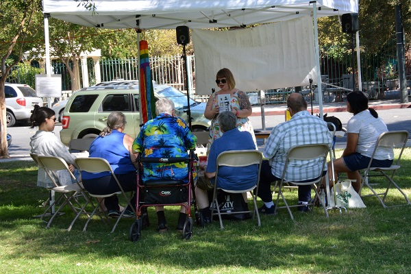 Author and audience at San Gabriel Valley Pride festival