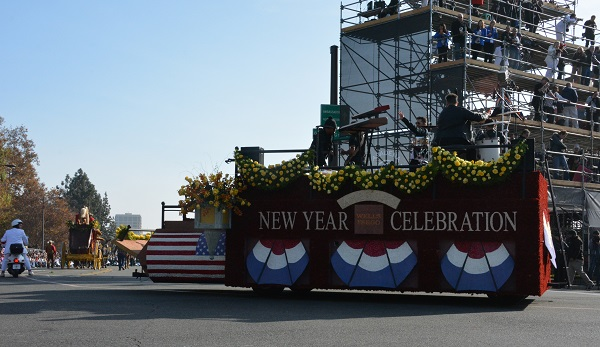 America's New Year Celebration closing float with red-white-and-blue bunting