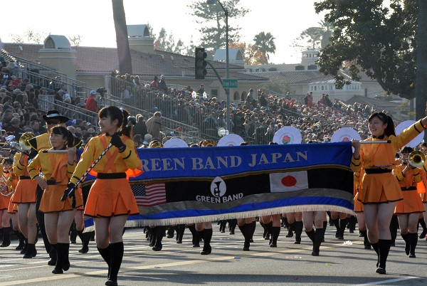 Green Band members smile as they approach Colorado Boulevard in 129th Rose Parade