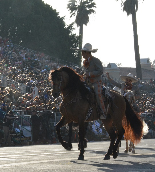 Los Hermanos Banuelos appear on horseback for the 129th Rose Parade