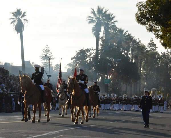 Mounted Marine Color Guard on Orange Grove Boulevard
