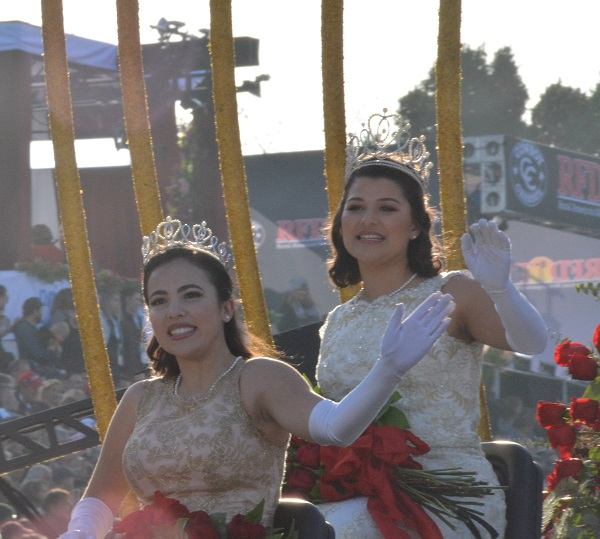 100th Rose Queen Isabella Marie Marez waves from Royal Court float during Pasadena's 129th Rose Parade