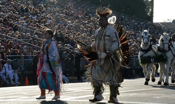 Ramona pageant cast in Native American costumes