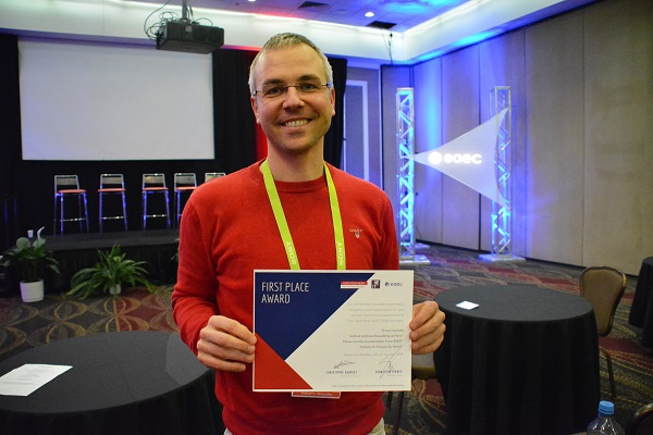 Robert Langer of Senorics with his first-place certificate at CES 2018