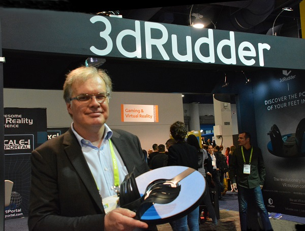 3D Rudder founder and CEO Stanislas Chenais exhibits his VR foot control on the show floor of CES 2018