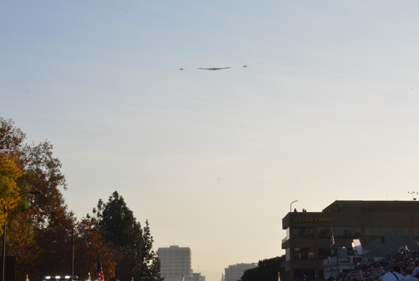 B-2 and F-35s fly down the parade route