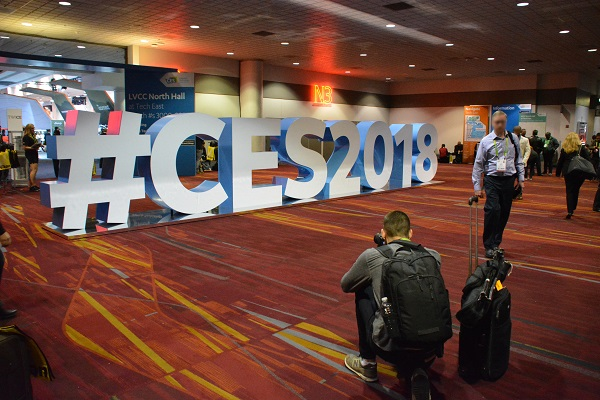 Photographer snaps picture of hashtag CES 2018 sign in lobby