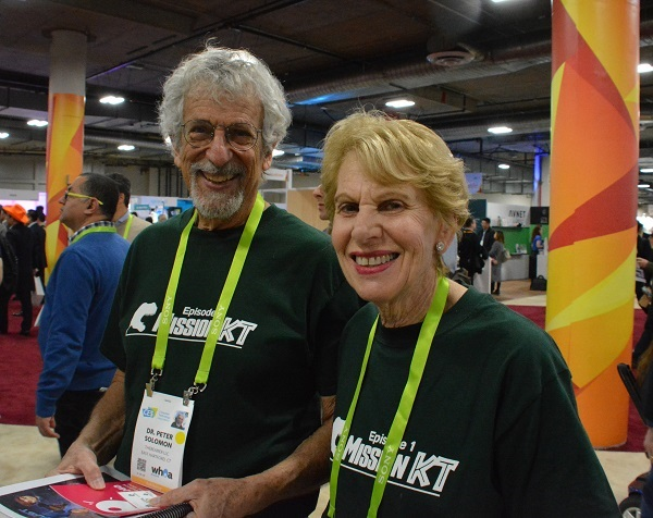 Peter and Sally Solomon, creators of TheBeamer, at CES 2018's Eureka Park.